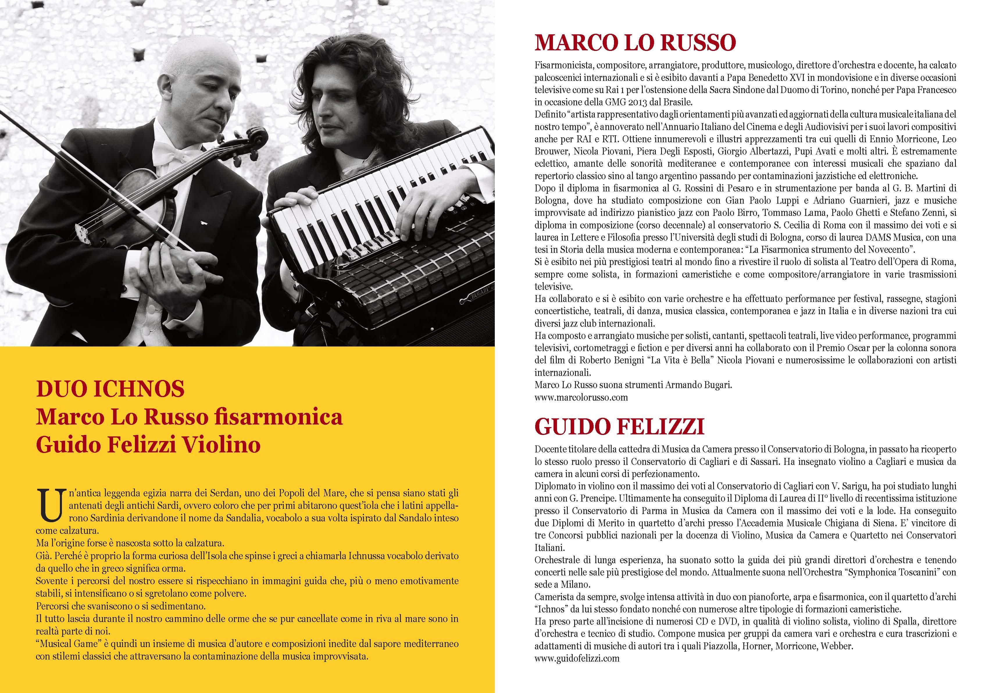 Allegro con Brio Piacenza Sala dei Teatini Marco Lo Russo Guido Felizzi duo Ichnos