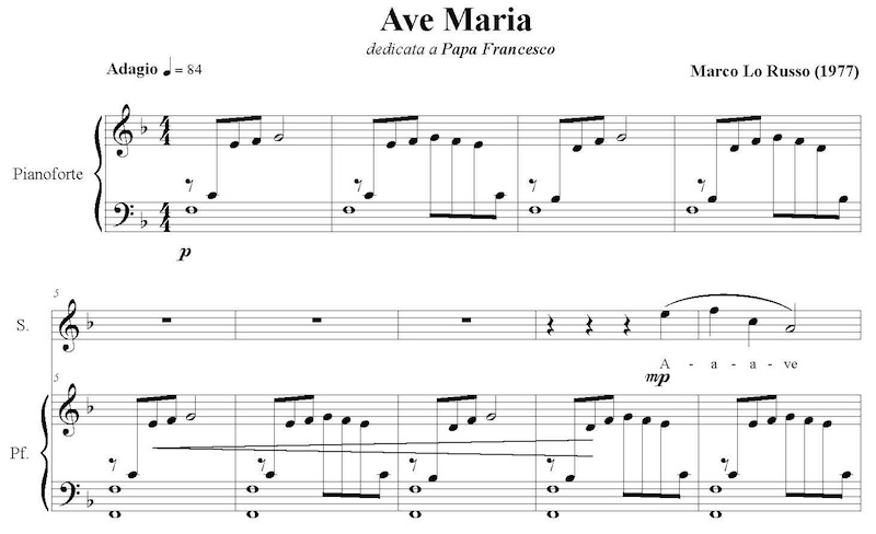 Ave Maria sheet music music score by Marco Lo Russo
