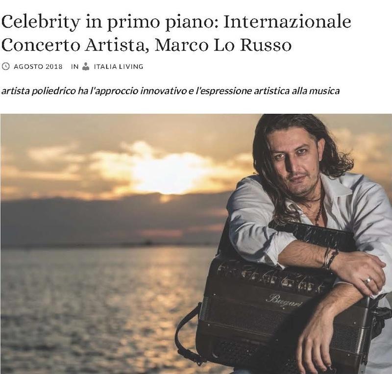 Celebrity in primo piano Concertista internazionale Artista Marco Lo Russo Italia Living