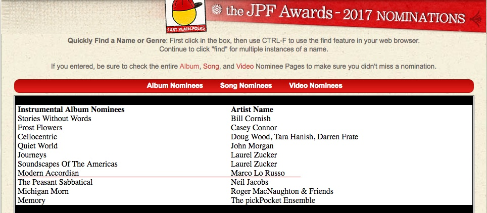 JPF Awards 2017 Nomination Modern Accordion