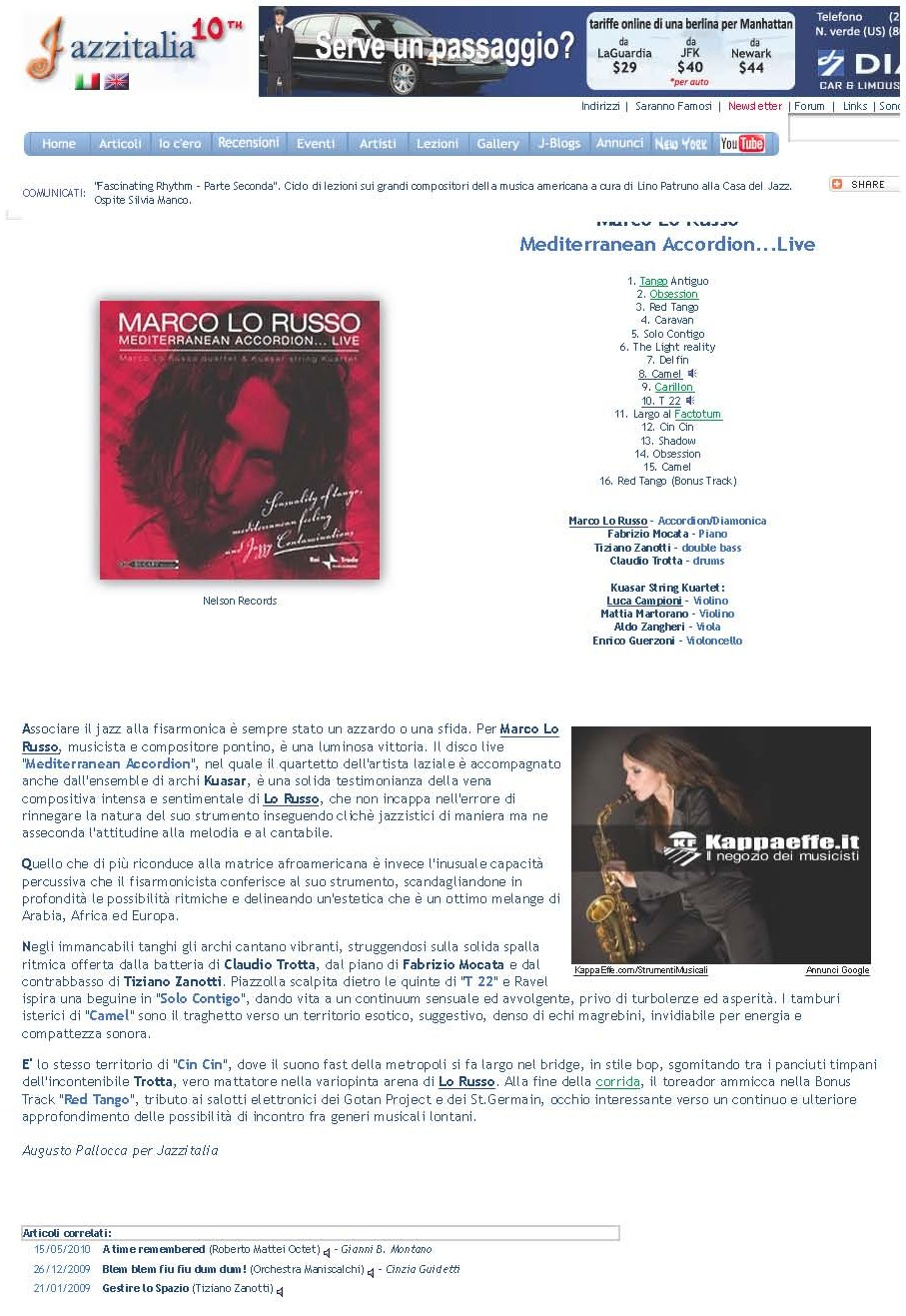 Jazzitalia Febbraio 2009 Augusto Pallocca Mediterranean Accordion by Marco Lo Russo