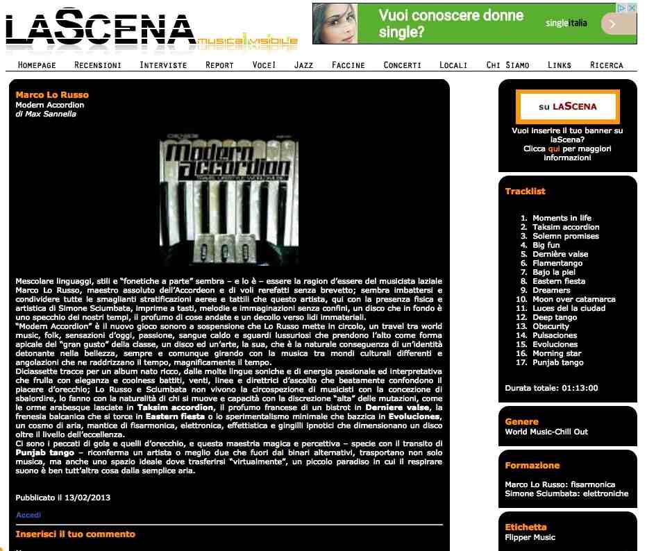 La Scena Febbraio 2013 Max Sannella Modern Accordion by Marco Lo Russo