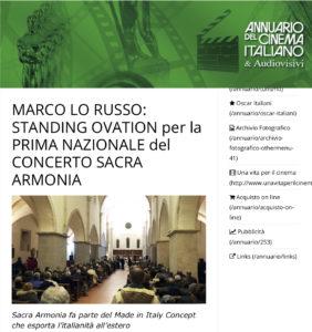 Marco Lo Russo Standing Ovation per la Prima Nazionale del Concerto Sacra Armonia