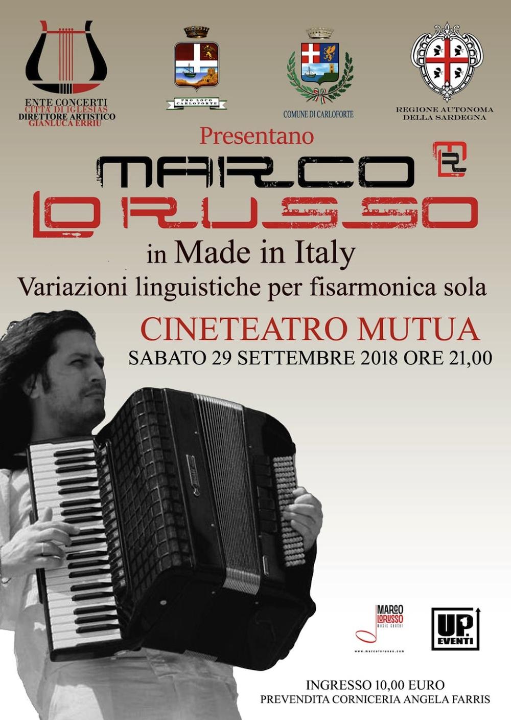 Marco Lo Russo Teatro Mutua Carloforte Sardegna Ente concerti città di Iglesias