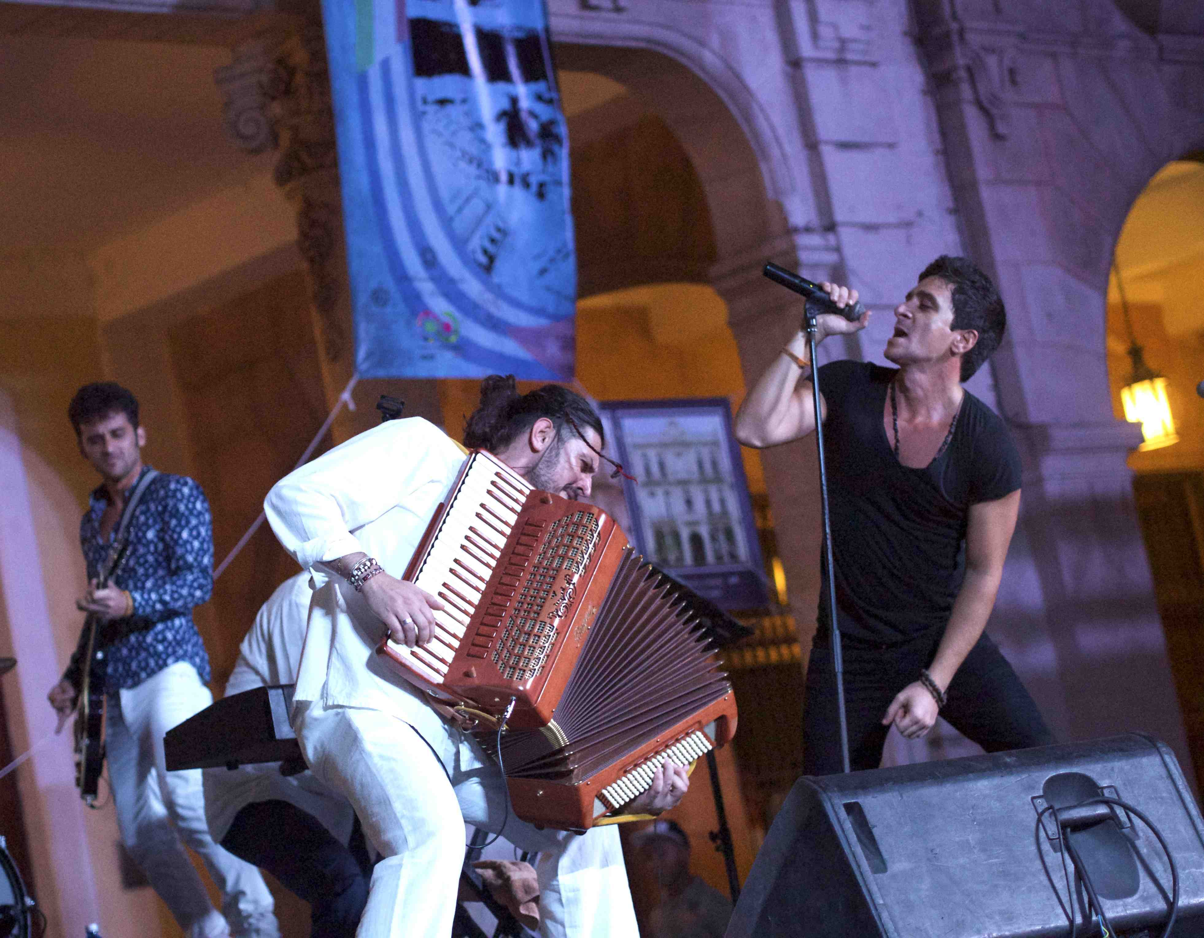 Marco Lo Russo and David Blanco during the concert Made in Italy in Old Square, Havana Cuba