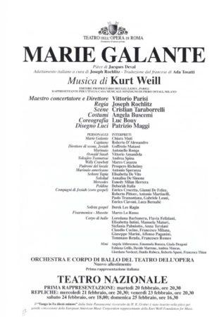 Marie Galante Kurt Weill Teatro Opera Roma