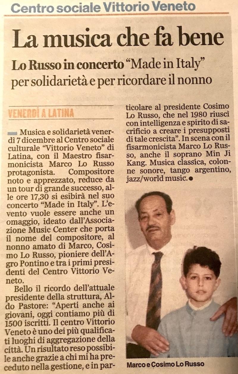 Musica che fa bene Made in Italy Latina Oggi Marco Lo Russo
