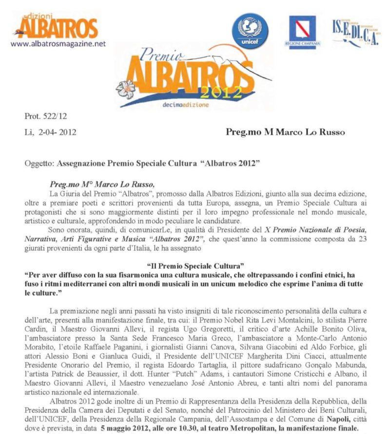 Premio Speciale Cultura Albatros