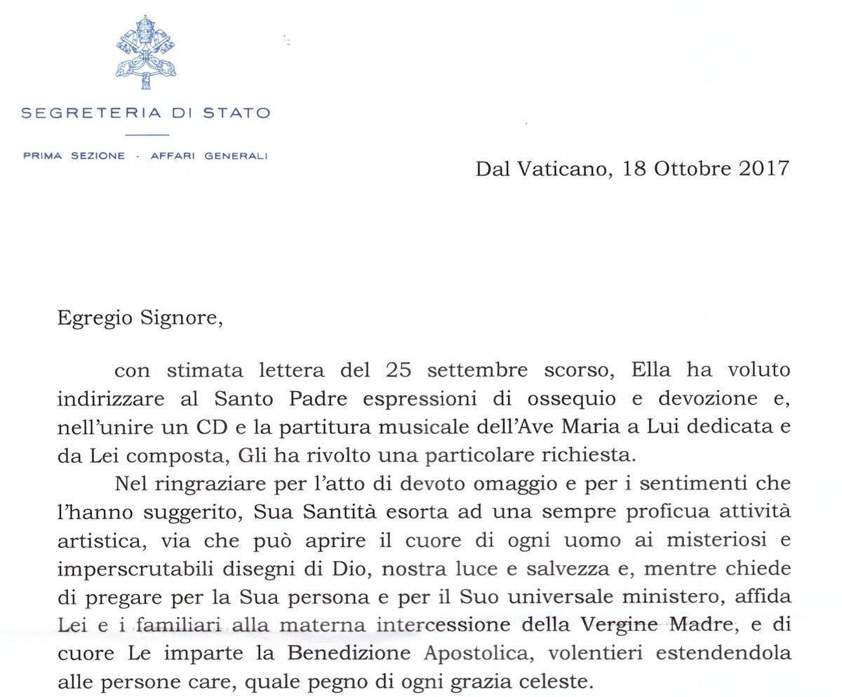 Segreteria di Stato Vaticano a Marco Lo Russo