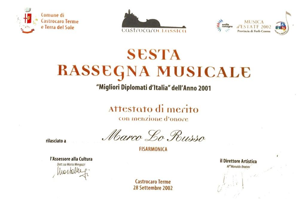 Sesta rassegna musicale Castrocaro Terme Classica 2001 migliori diplomati italiani