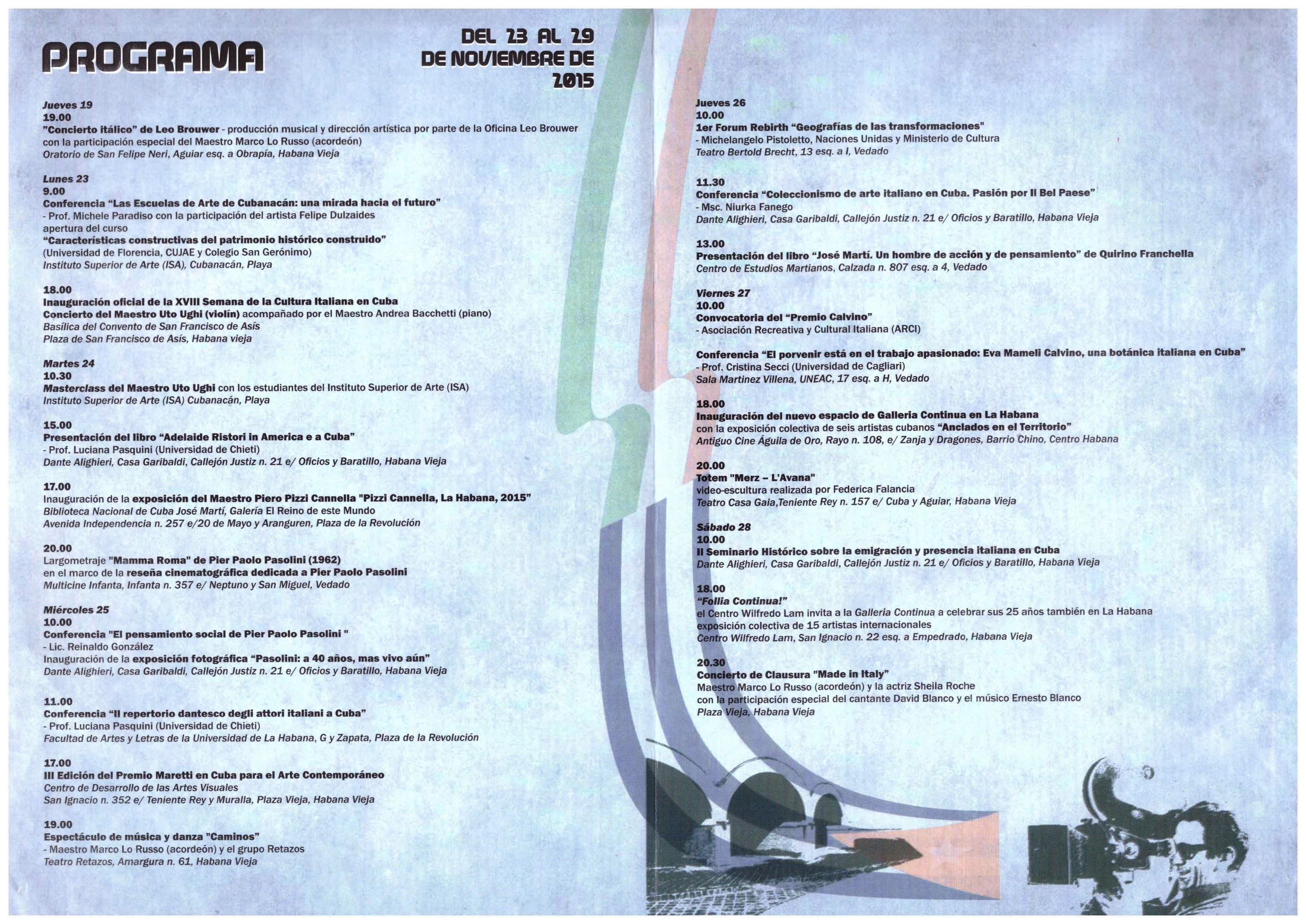 Settimana Della Cultura Italiana Cuba programma